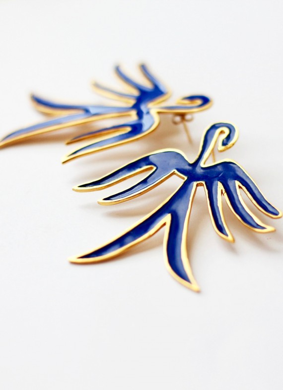 BLUE CRANE EARRINGS